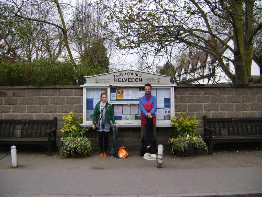 Barbara Bartz and Robin Grey by the village noticeboard in Kelvedon