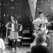 Robin and Jane South performing on Sunday lunchtime in the scout hut